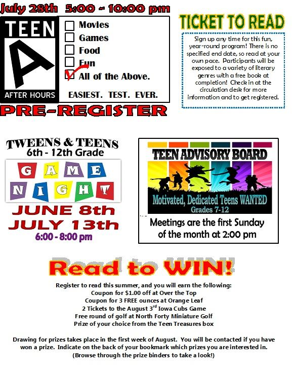 Teen Summer Reading Events